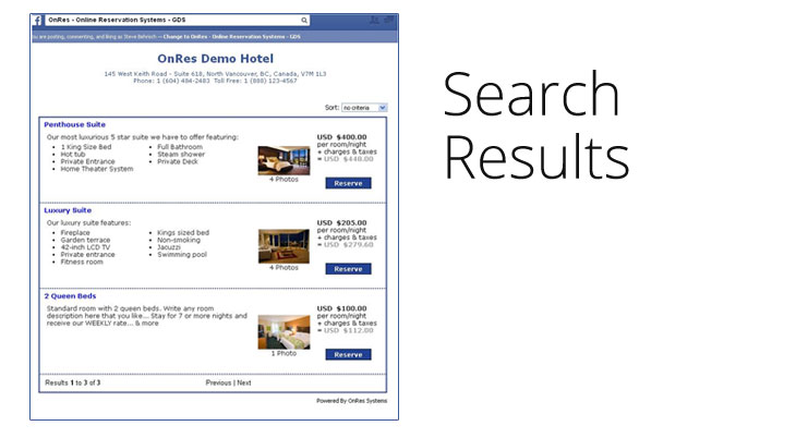 hotel booking system on facebook